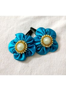 skyblue flower hairpin