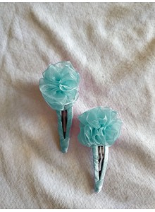 aqua flower hair pin