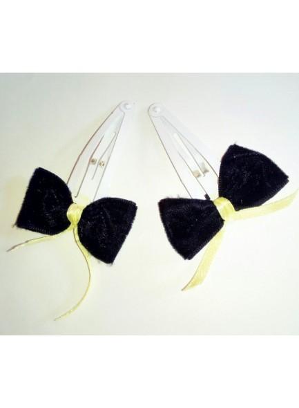 Black velvet bow with white coated hair pin