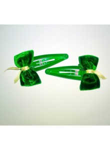 Green Bow Hair Pins