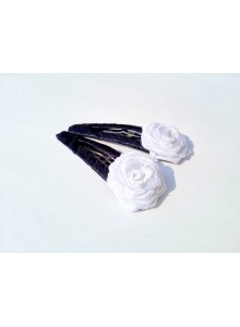 White Small Rose Hair Pins