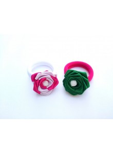 Green and pink rose hair pin combo