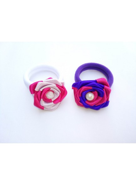 blue and pink rose hair ring combo