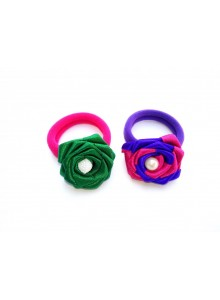 Green and blue rose combo hair ring