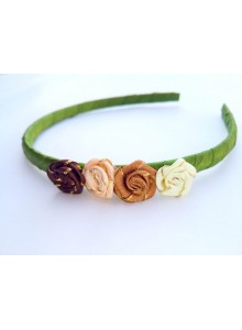 Green Color Hair Band with small roses