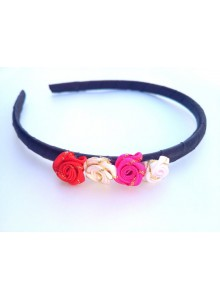 Black hair band with small roses