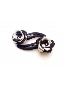 Black and White Rose Hair Pin