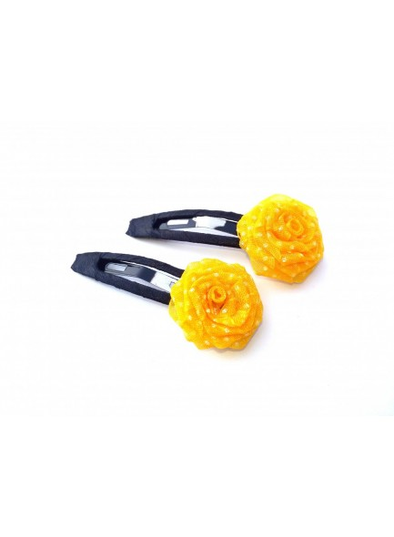 Yellow Dotted Rose Hair Pin
