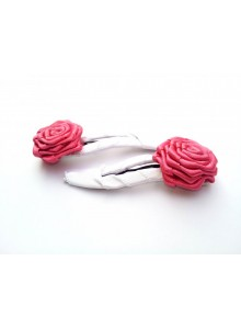 Pink & White Rose Hair Pin