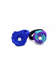blue dotted and purple rose combo hair ring