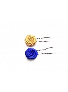 Blue and gold rose hair bun pin