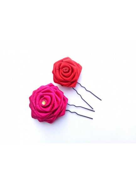 Pink and Red Hair Bun Pin