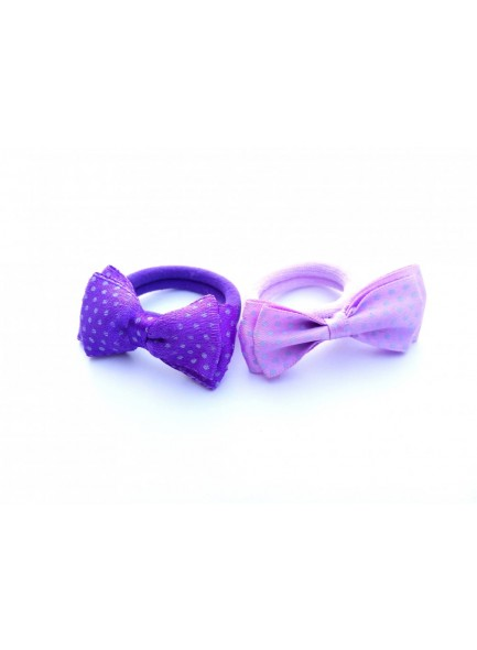 Blue and light purple dotted bow combo hair ring