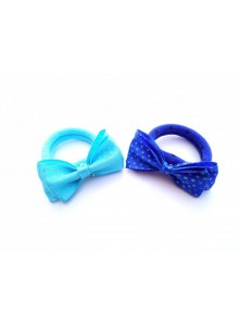 Skyblue and royalblue dotted bow combo hair ring