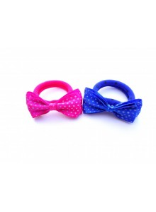 Pink and royalblue dotted bow combo hair ring