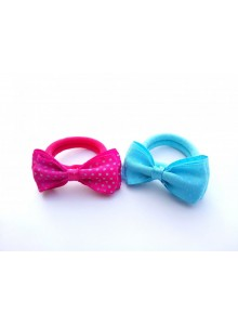 Skyblue and pink dotted bow combo hair ring