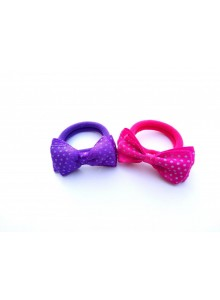 Blue and pink dotted bow combo hair ring