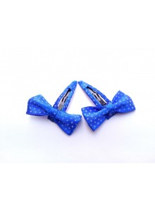 Blue Dotted Bow Hair Pin