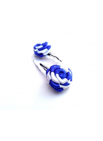 Blue and white rose hair pin