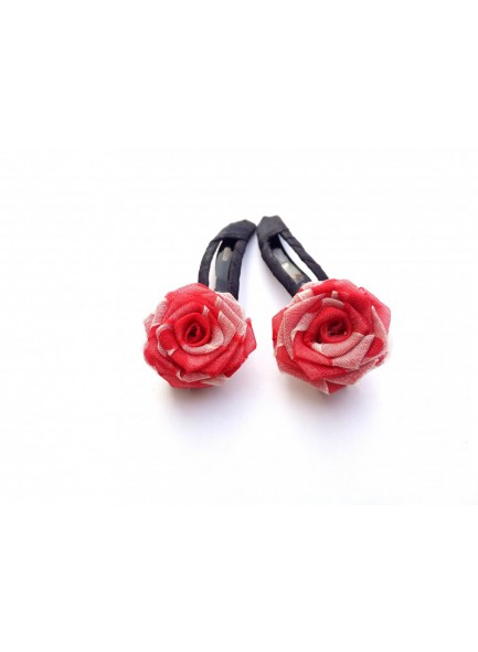 Red and White Net Rose Hair Pin
