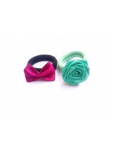 Rani bow and firozi rose combo hair ring
