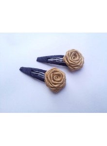 Golden rose with black covered hair  pin