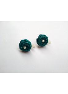 Dark cyan rose earrings