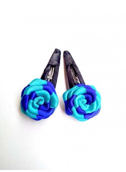Blue and Sky blue Rose Hair Pin