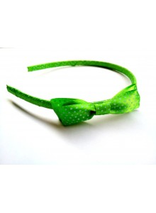 Green dotted bow hair band