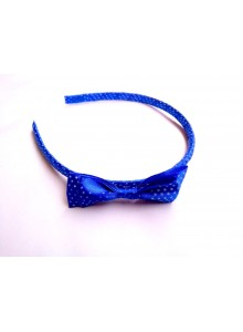 Blue dotted bow hair band