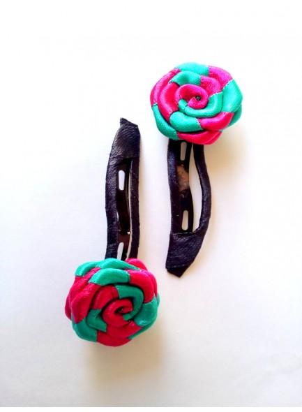 Rani and Sky Blue Rose Hair Pin