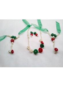 red and green rose pearl set