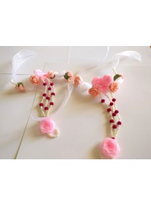 pink and white pearl set (bride pithi set)