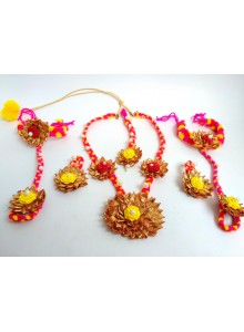 gota patti yellow rose pithi set