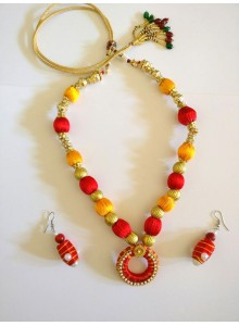 yellow and red thread nacklace