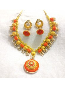 devart trendy orange and gold silk thread Jewellery set - Necklace and Earrings