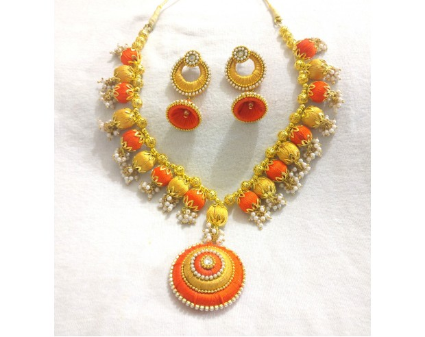 orange silk thread jwellery