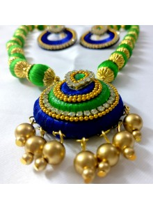 green and blue silk thread nacklace
