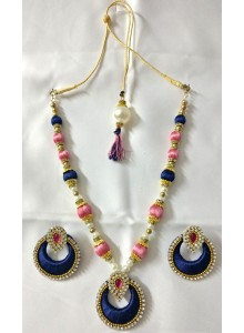 pink and blue silk thread nacklace