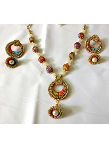 multi color silk thread nacklace