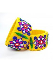 yellow color kucchi work bangles