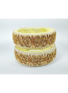 cream color work bangles