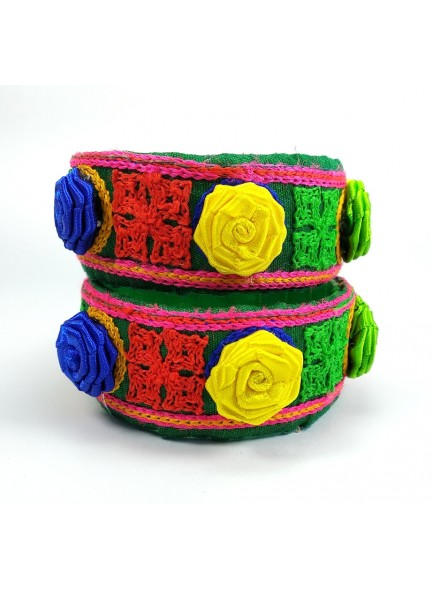 green kucchi work with rose flower bangles