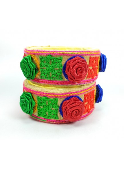 cream kucchi work with rose flower bangles