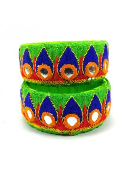 parrot green color kucchi work bangles