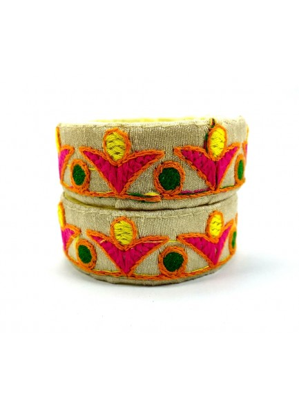 cream color kucchi work bangles