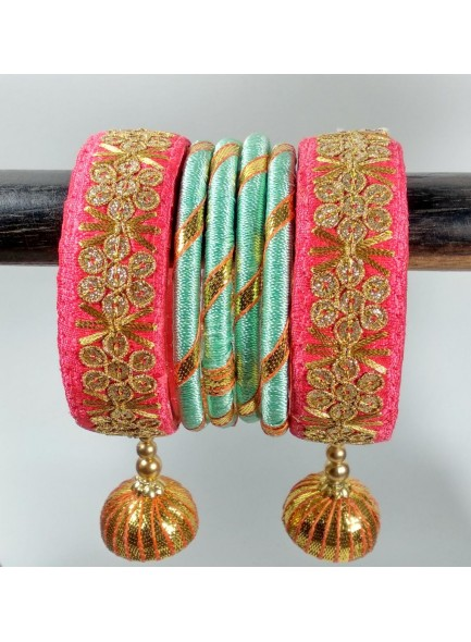 carrot red work bangles with jumkha