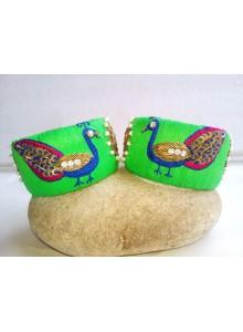 parrot color zardosi work bangles set