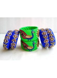 parrot and blue color zardosi work bangles set