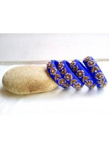 blue zardosi work bangles set